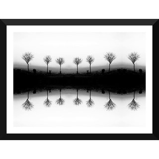 Tallenge - Leafless Tree In Fog Stock - Large Size Ready To Hang Framed Digital Art Print On Photographic Paper For Home And Office Decor (17x24 Inches)