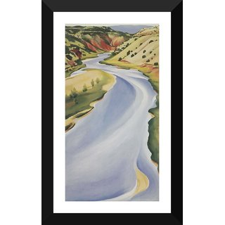 Tallenge - Georgia O'Keeffe - Chama River, Ghost Ranch - Xlarge Size Ready To Hang Framed Digital Art Print On Photographic Paper For Home And Office Decor (16x30 Inches)