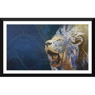 Tallenge - African Lion Roaring - Xlarge Size Ready To Hang Framed Digital Art Print On Photographic Paper For Home And Office Decor (17x30 Inches)