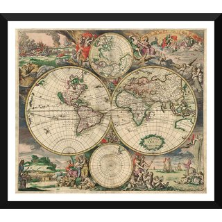 Tallenge - Decorative Vintage World Map - 16th Century World - Gerard Van Schagen - 1689 - Small Size Ready To Hang Framed Digital Art Print On Photographic Paper For Home And Office Decor (10x12 Inches)