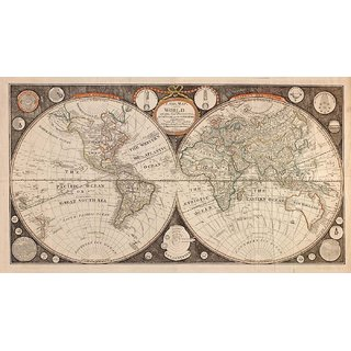 Tallenge - Decorative Vintage World Map - A New Map Of The World - I. Evans - 1799 - Medium Size Unframed Rolled Digital Art Print On Photographic Paper For Home And Office Decor (10x18 Inches)