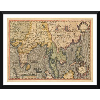 Tallenge - Decorative Vintage World Map - India Orientalis - Jodocus Hondius - 1606 - Small Size Ready To Hang Framed Digital Art Print On Photographic Paper For Home And Office Decor (9x12 Inches)
