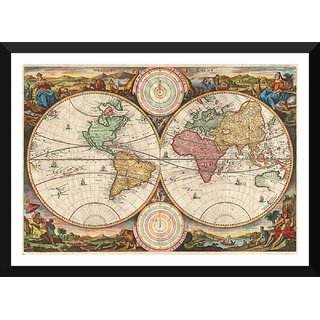 Tallenge - Decorative Vintage World Map - Werelt Caert. - Stoopendal - 1663 - Xlarge Size Ready To Hang Framed Digital Art Print On Photographic Paper For Home And Office Decor (21x30 Inches)