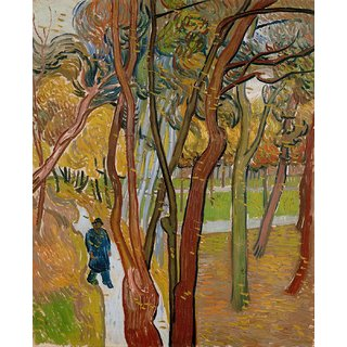 Tallenge - The Garden Of Saint Paul'S Hospital - The Fall Of The Leaves By Vincent Van Gogh - Large Size Unframed Rolled Digital Art Print On Photographic Paper For Home And Office Decor (19x24 Inches)