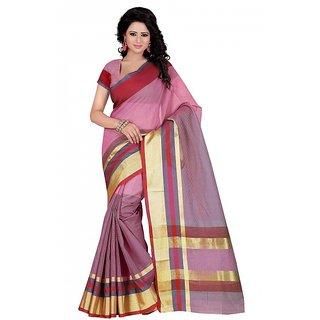 kanak new styles pink color cotton saree