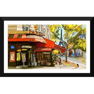 Tallenge - Paris Cafe Street - Small Size Ready To Hang Framed Digital Art Print On Photographic Paper For Home And Office Decor (7x12 Inches)