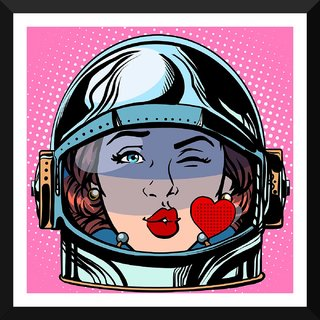 Tallenge - Pop Art - Space Girl - Small Size Ready To Hang Framed Digital Art Print On Photographic Paper For Home And Office Decor (12x12 Inches)