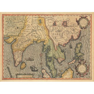 Tallenge - Decorative Vintage World Map - India Orientalis - Jodocus Hondius - 1606 - Medium Size Unframed Rolled Digital Art Print On Photographic Paper For Home And Office Decor (13x18 Inches)