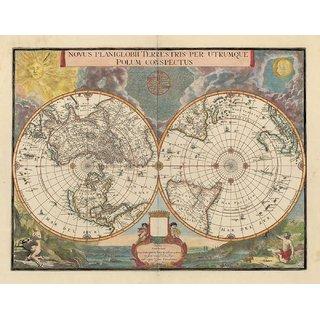 Tallenge - Decorative Vintage World Map - Novus Planiglobii Terrestris - Blaeu & Valck - 1695 - Medium Size Unframed Rolled Digital Art Print On Photographic Paper For Home And Office Decor (14x18 Inches)