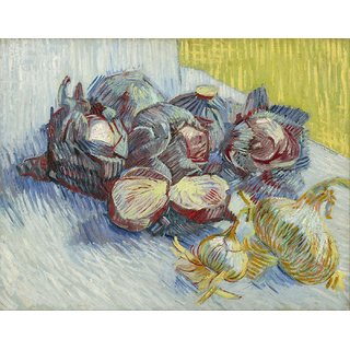 Tallenge - Red Cabbages And Onions By Vincent Van Gogh - Medium Size Unframed Rolled Digital Art Print On Photographic Paper For Home And Office Decor (14x18 Inches)