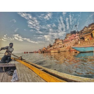 Tallenge - Boatman In Varanasi - Large Size Unframed Rolled Digital Art Print On Photographic Paper For Home And Office Decor (18x24 Inches)