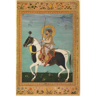 Tallenge - Indian Art - Shah Jahan On Horseback C1630 - Small Size Unframed Rolled Digital Art Print On Photographic Paper For Home And Office Decor (8x12 Inches)