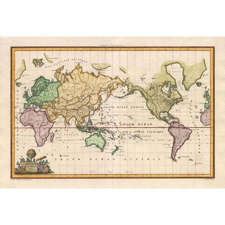 Tallenge - Decorative Vintage World Map - Mappe-Monde Sur La Projection De Mercator - Alexandre Emile Lapie - 1816 - Small Size Unframed Rolled Digital Art Print On Photographic Paper For Home And Office Decor (8x12 Inches)