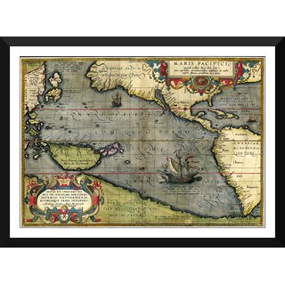 Tallenge - Decorative Vintage World Map - Maris Pacifici - Abraham Ortelius - 1589 - Medium Size Ready To Hang Framed Digital Art Print On Photographic Paper For Home And Office Decor (13x18 Inches)