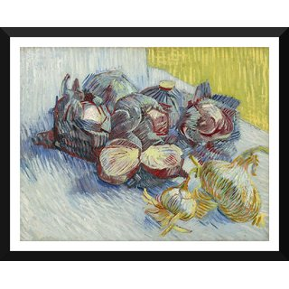 Tallenge - Red Cabbages And Onions By Vincent Van Gogh - Small Size Ready To Hang Framed Digital Art Print On Photographic Paper For Home And Office Decor (9x12 Inches)