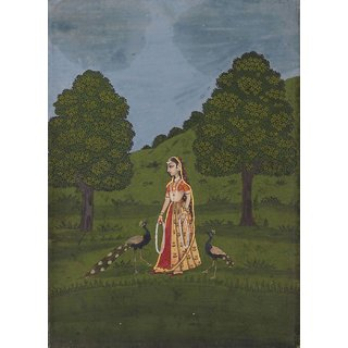 Tallenge - Indian Art - Rajput Painting -Lady With Peacocks C1800 - Medium Size Unframed Rolled Digital Art Print On Photographic Paper For Home And Office Decor (13x18 Inches)