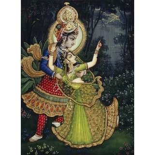 Tallenge - Krishna And Radha - Medium Size Unframed Rolled Digital Art Print On Photographic Paper For Home And Office Decor (15x18 Inches)