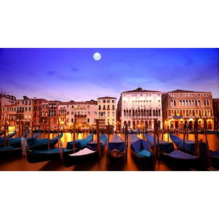 Tallenge - Moonlight Sonata - A Beautiful Night View Of Venice Grand Canal And Gondolas - Painting - Medium Size Unframed Rolled Digital Art Print On Photographic Paper For Home And Office Decor (10x18 Inches)