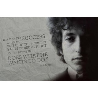 Tallenge - Music And Musicians Collection - Bob Dylan - Quote - Man Does What He Wants To Do - Medium Size Unframed Rolled Digital Art Print On Photographic Paper For Home And Office Decor (12x18 Inches)