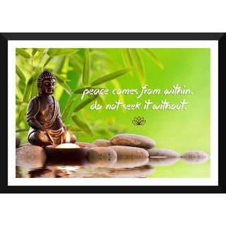 Tallenge - Gautam Buddha Inspirational Quote - Peace Comes From Within Do Not Seek It Without - Xlarge Size Ready To Hang Framed Digital Art Print On Photographic Paper For Home And Office Decor (20x30 Inches)