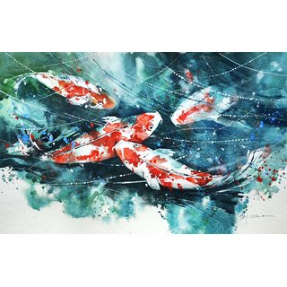 Tallenge - Koi Fishes Art 2 - Small Size Unframed Rolled Digital Art Print On Photographic Paper For Home And Office Decor (8x12 Inches)