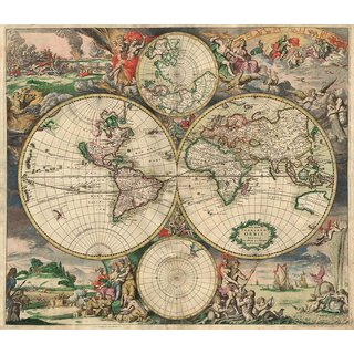 Tallenge - Decorative Vintage World Map - 16th Century World - Gerard Van Schagen - 1689 - Large Size Unframed Rolled Digital Art Print On Photographic Paper For Home And Office Decor (21x24 Inches)