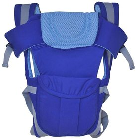 1 Pc Adjustable Hands-Free 4-in-1 Baby Carrier with Comfortable Head Support  Buckle Straps - Color Blue