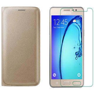 Golden Leather Flip Cover with 25D HD Tempered Glass for Samsung Galaxy J5 2016 J510