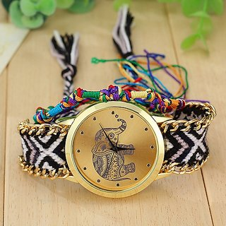 Round Dial Multi Fabric Analog Watch For Women