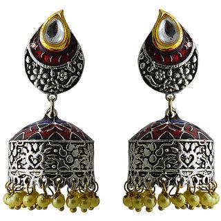 meenakari silver plated tokri jhumki earring-402