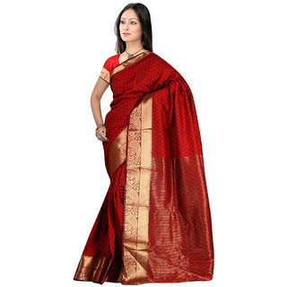 Indian Fashionista Red Georgette Plain Saree With Blouse