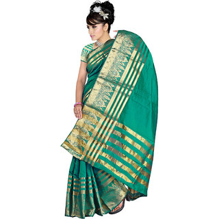 Indian Fashionista Green Georgette Plain Saree With Blouse