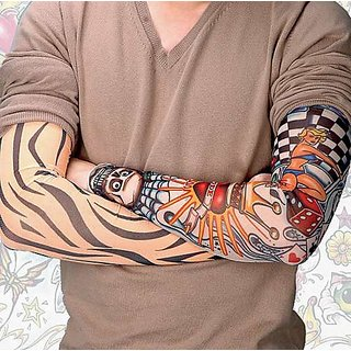 Best Quality Nylon Temporary Realistic Fake Slip on Tattoo Arm Cuff Sleeves Covers Stockings 1 Pair CODEtW-9611