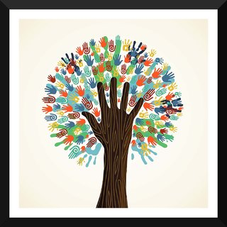 Tallenge - Contemporary Art - Diversity Tree - Medium Size Ready To Hang Framed Digital Art Print On Photographic Paper For Home And Office Decor (18x18 Inches)