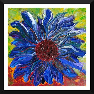 Tallenge - Cool Sunflower Art On Sunny Day - Medium Size Ready To Hang Framed Digital Art Print On Photographic Paper For Home And Office Decor (18x18 Inches)