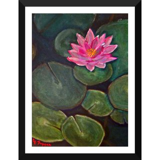 Tallenge - Floral Art - Lotus Flower Painting - Medium Size Ready To Hang Framed Digital Art Print On Photographic Paper For Home And Office Decor (13x18 Inches)