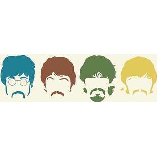 Tallenge - The Beatles Silhouette Haircut Mustache Members - Xlarge Size Unframed Rolled Digital Art Print On Photographic Paper For Home And Office Decor (17x30 Inches)