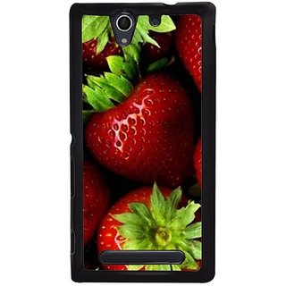 Fuson Designer Phone Back Case Cover Sony Xperia C4 ( Fresh Strwberries With Leaves )