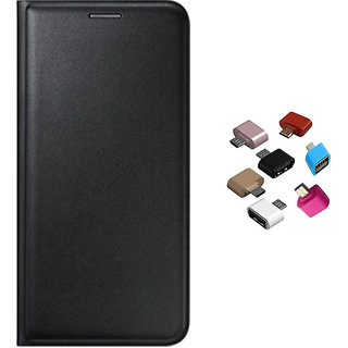 Premium Black Leather Flip over and Micro USB OTG Adaptor for Lenovo A6600