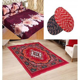 Sns Combo Of Quilted Carpet With Double Bed Sheet  Two Door Mats