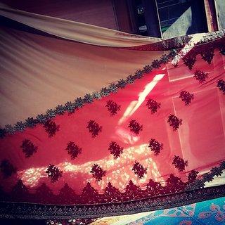 red satin half and sarees