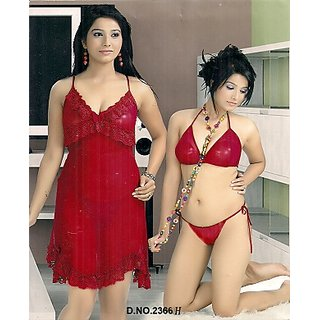 Sexy 3pc Bra Panty  Over Coat Hot Sleep Wear Set Red 2366H Bed Honeymoon Set