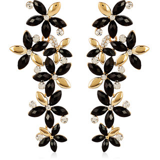 Jewels Galaxy Black-Golden Luxuria Designer Earring Limited Collection For Wedding