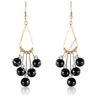 Luxuria Elegant Ad Black Pearl Gold Plated Limited Edition Drop Earrings