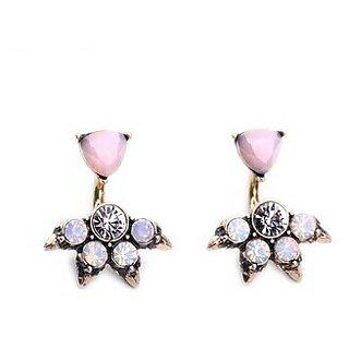 pink opal stud earings for women