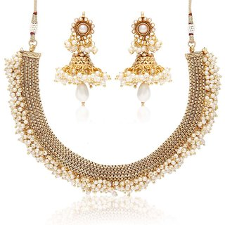 Buy Jewels Galaxy Traditional Just Like Gold Necklace Set With Tiny Pearl  Beads Online - Get 89% Off 3feb16857
