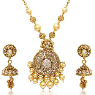 8376fe2c77aba Jewels Galaxy Luxuria Designer Necklace Set With Royal Pearl Mala
