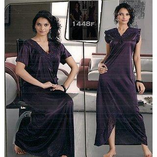 2pc Seductive Nighty  Over Coat New Womens Sleep Wear Bed 1448 Wine Night Dress