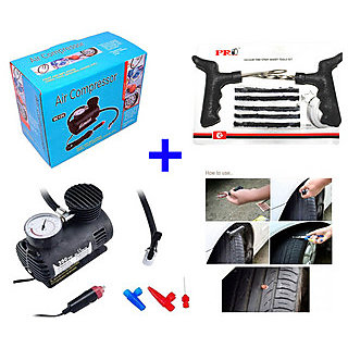 Air Tyre Pump With Tubeless Tyre Puncture Repair Kit  Gauge 100 Psi