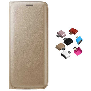 Premium Golden Leather Flip over and Micro USB OTG Adaptor for Samsung Galaxy A9 Pro
